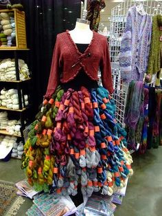 yarn skein skirt on display Yarn Display, Craft Show Displays, Store Displays, Display Ideas, Wool Shop, Yarn Shop, Yarn Storage, Knitting Humor, Yarn Stash