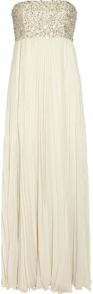 Embellished Pleated Silk chiffon Gown