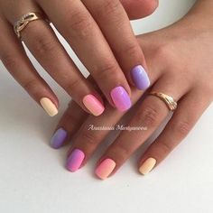 Colorful gel polish nails, Colorful nails, Creative nails, Manicure 2016, Multi-color nails, Ombre nails, overflow nails, Spectacular nails