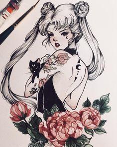 "sailor-moon-rei: ""by peithedragon "" Arte Sailor Moon, Sailor Moon Fan Art, Sailor Moon Crystal, Sailor Moon Tattoos, Tattoo Moon, Sailor Moon Usagi, Sailor Scouts, Pretty Art, Cute Art"