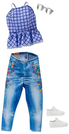 2017 Barbie Outfits - Complete Look - Lilac & Jeans Ken Doll, Barbie Et Ken, Barbie Doll Set, Barbie Sets, Doll Clothes Barbie, Barbie Outfits, Accessoires Barbie, Barbie Playsets, Barbie Fashionista Dolls