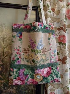 Vintage linen tote - really love this!                              …