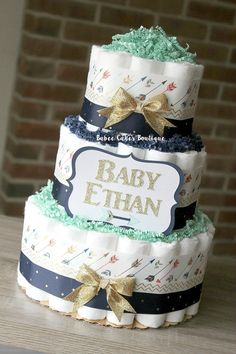 3 Tier Arrow Diaper Cake Diaper Cake Mint by BabeeCakesBoutique