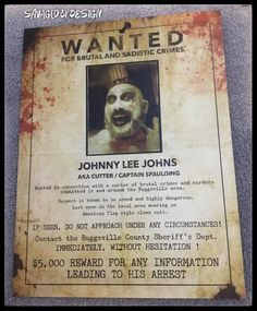 , Wanted poster. House of 1000 corpses, The devils rejects. The Devil's Rejects, Johnny Lee, Captain My Captain, American Flag, Horror, Poster, House, Etsy, American Fl