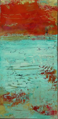 South of France, 24 x 12, plaster / paint / glaze on canvas by Debra Corbett at a Scottsdale art gallery