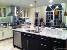 Dayton Painted Linen and Dayton Painted Carbon Mission Kitchen Cabinets from CliqStudios.com