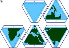 ACTIVITY 28 (Icosahedron Globes): ...Print the 20 tabbed triangles in the four sequential graphic files (Globe1, Globe2, Globe3,Globe4) on card stock using a color printer, then score and join the 30 numbered pairs of tabs to create an icosahedron decorated with the continents of the earth... From: http://britton.disted.camosun.bc.ca/jbpolyhedra.htm