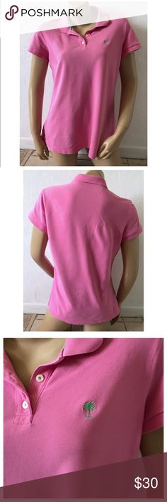 """Lilly Pulitzer Size Large Pink Island Polo Shirt Excellent condition; Armpit to armpit - 20"""", Shoulder seam to shoulder seam - 16"""", Shoulder to bottom hem - 26.5""""; Cotton, Spandex Lilly Pulitzer Tops Blouses"""