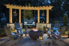10 Hot Fire Pit Seating Ideas for Your Outdoor Space - Hayneedle Fire Pit Dining Set, Fire Pit Seating, Fire Pit Area, Seating Areas, Outside Seating Area, Dining Sets, Patio Pergola, Backyard Seating, Backyard Patio