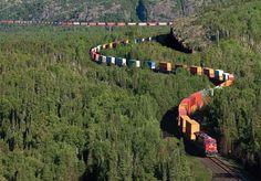 intermodal train in northern ontario, canada photo