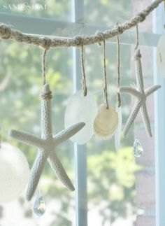 Sea Chimes - Starfish and Capiz Shell Garland                                                                                                                                                                                 More