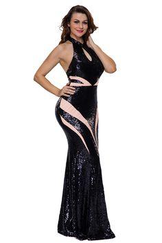 Robe de Soiree Longue Noir Paillettes Col Roule Bloc de couleur Pas Cher www.modebuy.com @Modebuy #Modebuy #Noir #style #vente #gros