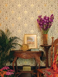 Bradbury and Bradbury wallpaper  NOW AND THEN: Historic Hudson Valley House Olana and the Persian Look - Decor Arts Now