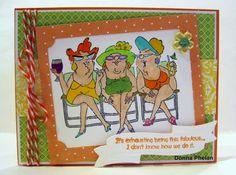 Art Impressions: Ai Beach Babes...exclusive Hampton Art  at Michael's set.  Girlfriends hanging at the beach handmade card.