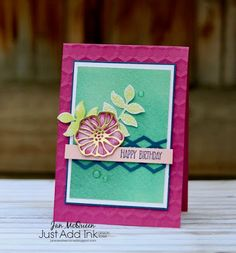 Birthday card featuring Stampin Up's Oh So Eclectic and Sunshine Wishes Stamp sets by Jan McQueen. More info @ www.janscreativecorner.blogspot.com