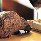 Roast Prime Rib with Cabernet-Vegetable Jus and Herbed Yorkshire Pudding, Recipe from Cooking.com