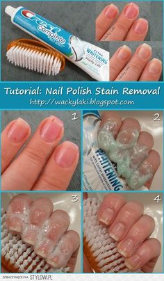 Nail polish stain remover -- use toothpaste!