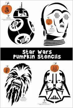 Star Wars Pumpkin Stencils - Star Wars Vader - Ideas of Star Wars Vader - 8 Star Wars pumpkin carving patterns including Darth Vader Darth Maul Star Wars Halloween, Cute Halloween, Halloween Pumpkins, Vintage Halloween, Halloween Crafts, Halloween Labels, Halloween Ideas, Halloween Costumes, Halloween Halloween