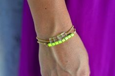 Neon lime green bracelet on gold chain. Bold and beautiful! by The Shine Project
