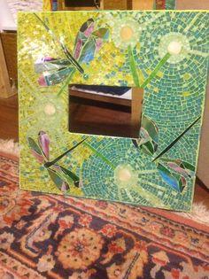 OOAK Custom Dandilions & Dragonflies Mosaic Stained Glass Art Frame