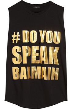Black top crafted from the softest cotton-jersey in a oversized, loose fit. It's appliquéd with a metallic gold hashtag referencing the iconic label and it's signature cool aesthetic. Team yours with distressed denim or leather leggings for a geek chic look | Balmain