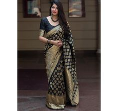 Indian Ethnic Wear Online Store <br> Pretty Black Banarasi Patola Silk Designer Saree with blouse for your parties,festivals or special occasion. ✔ Custom stitching available. ✔ Express shipping to UK, US, Canada and world-wide. Indian Designer Sarees, Indian Sarees, Sarees Online India, Party Sarees, Soft Silk Sarees, Traditional Sarees, Banarasi Sarees, Pretty Black, Saree Styles