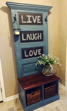 Reclaimed Vintage Door Hall Tree and Bench by SouthernCharmThing on Etsy https://www.etsy.com/listing/241504298/reclaimed-vintage-door-hall-tree-and