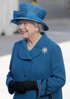 Queen Elizabeth II in blue.