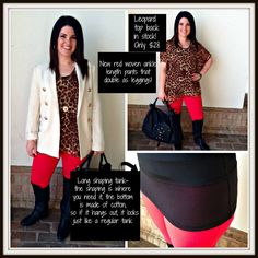 Such a cute outfit!! Leopard top is back in stock, and shown with our new red woven ankle length pants and Blaque label cream blazer!