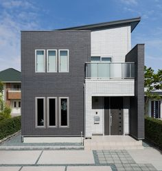 シンプルモダン 建築実例 Style At Home, Japanese Modern House, House Front, House Colors, Home Projects, Exterior Design, Tiny House, House Design, Mansions
