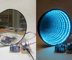 Arduino-controlled RGB LED Infinity Mirror.  By day mirror, but by night, Disco time. I would like this with an audio listening mode (possibly directly wired into line out) so could be a light organ.