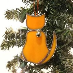 Cute Yellow/Orange Stained Glass Cat Christmas Tree Ornament/Suncatcher with Bell