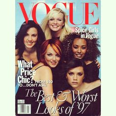 """Spice Girls on the cover of VOGUE Magazine in January 1998, shot by @MarioTestino in December, 1997! Clothes by @Gucci ✌️ #spicegirls…"""