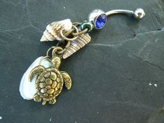 brass sea turtle belly ring sea turtle shells seshells sea life in beach boho gypsy hippie belly dancer beach hipster and fantasy style