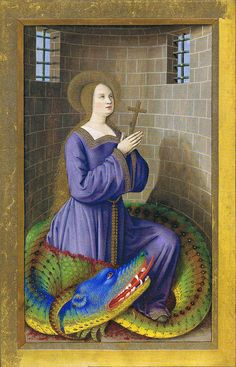 "Saint Margaret with colored dragon from the ""Grandes heures d'Anne de Bretagne."" The dragon who swallowed Margaret was Satan in the shape of a dragon. She escaped alive when the cross she carried irritated the dragon's innards."