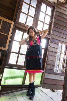 Akha Mini Dress-BLACK with black ethnic batik pattern and PINK pompoms trims / Ethnic / Vintage/Folk