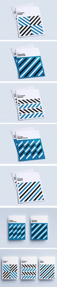 Cover design inspiration, Geometric minimalist layout, blue and black | Company Profile, Annual Report, Capability Statement, Procedure Manual | Valhalla Creative Design Perth