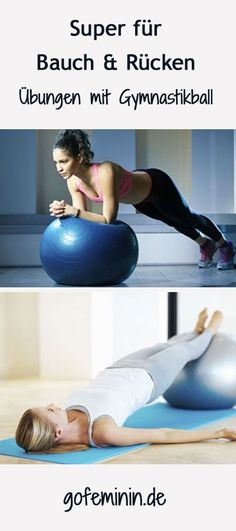 The best gym ball exercises for a flat stomach- The best exercises with the gym ball: www.de / … - : The best gym ball exercises for a flat stomach- The best exercises with the gym ball: www. Fitness Workouts, Tips Fitness, Easy Workouts, Body Fitness, Fitness Journal, Fitness Gear, Pilates Workout, Gras Double, Healthy Sport