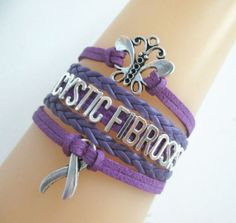 Cystic Fibrosis Erfly Hope Purple Awareness Ribbon Charms Leather Braided Bracelet