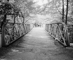 The Rumbly Bridge at Irvine Park -The slats were laid diagonally which caused an odd noise when vehicles crossed this bridge. It was closed to vehicle traffic in 1981. (photo courtesy of Bridgehunter.com)