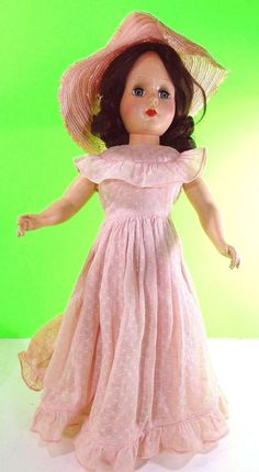 """.99 cent auction___ Hard Plastic Doll South Belle Vintage 1950 Mid Century Retro Girl Toy Home Decor___ Hi there...... 16-1/2"""" tall hard plastic vintage 1950s 1960s doll wearing the Southern Belle light pink formal gown, with the matching wide brim hat. Hair appears to be in the original fashion set of the time and she has great face color.  Blush on the knees, the elastic under the hat needs to be re-attached.  Jointed... unmarked...unsure of the maker.... could be what's called a…"""