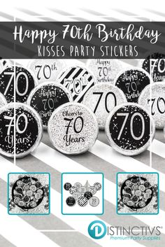 Black And Silver 70th Birthday Party Favor Stickers Set Of 324