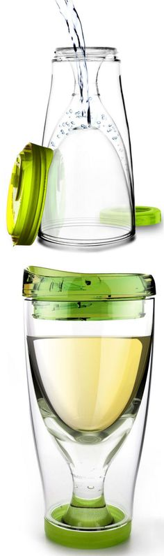 Wine Cup 2 Go - Fill the Bottom with Water, Freeze it & Keep your Wine Cool Without Watering it Down! Omg I need this!!!