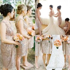 Bridesmaid Dresses Kids 2015 Best Selling Blingbling Rose Gold Sequins Knee Length Bridesmaid Dresses Maid Of Honor Formal Beach Wedding Party Dresses Girls Bridesmaid Dresses From Promotionspace, $88.5| Dhgate.Com