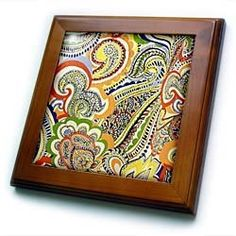 60s Orange Blue Green Yellow Paisley - 8x8 Framed Tile by 3dRose. $22.99. 60s Orange Blue Green Yellow Paisley Framed Tile is measuring 8w x 8h x .75d. Made of solid wood with predrilled keyhole for easy wall mounting. Framed tile comes with 6w x 6h ceramic gloss tile attached to the wood frame.