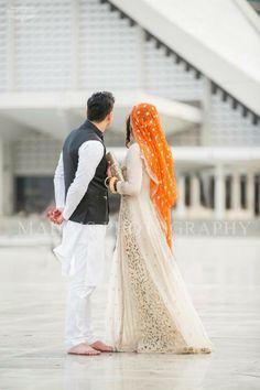 *Nikkah Dress* I really like this cream and orange colour combination Groom Wedding Dress, Pakistani Bridal Dresses, Pakistani Wedding Dresses, Bride Groom, Wedding Couple Poses, Wedding Couples, Nikkah Dress, Cute Muslim Couples, Wedding Photoshoot