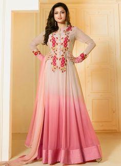 Shop Drashti Dhami  Beige and pink georgette party wear salwar kameez online at…