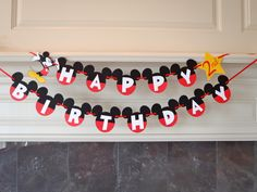 Mickey Mouse Birthday Banner with Age and Custom Name READY TO SHIP by FeistyFarmersWife by FeistyFarmersWife on Etsy https://www.etsy.com/listing/187180876/mickey-mouse-birthday-banner-with-age