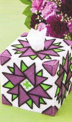 DAZZLING DAHLIA Tissue Topper Box Cover - Plastic Canvas PATTERN. $1.00, via Etsy.