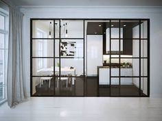 I'm giving you a dose of interior inspo today courtesy of the talented artists who publish their work on Behance. Starting with a lovely loft apartment with incredible ceiling height and windows, f Patio Interior, Interior Walls, Interior And Exterior, Interior Design, Glass Wall Design, Steel Frame Doors, Loft Stil, Glass Room Divider, Marquise